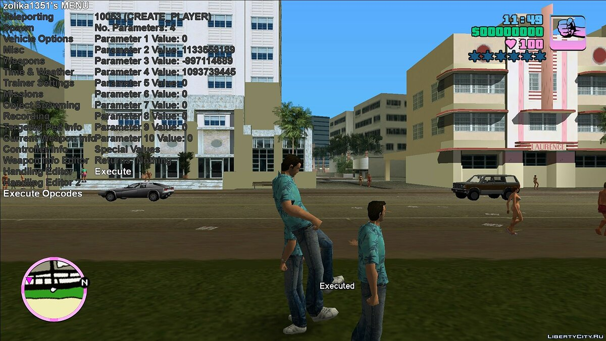 Script mod Zolika1351's III & VC Trainer / Mod Menu for GTA Vice City