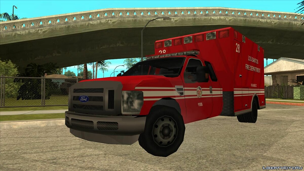 Cars Ford Ambulance LSFD Low Poly for GTA San Andreas