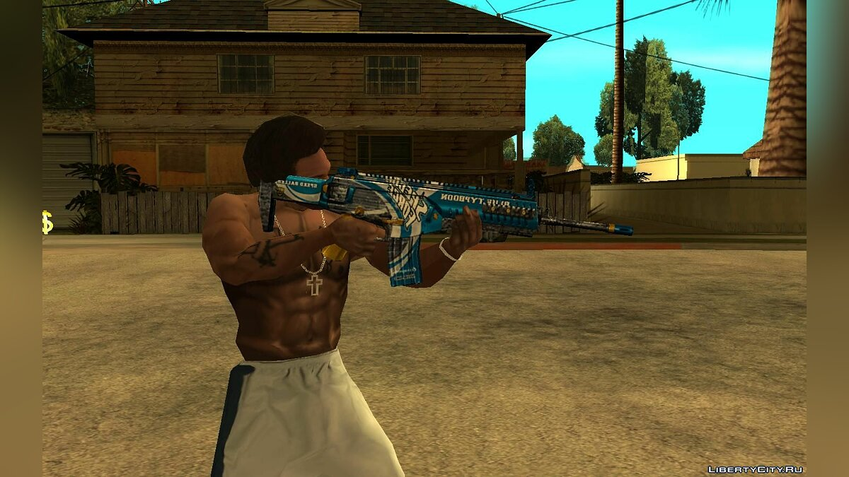 Weapon mod Blue Typhoon ARX 160 from SFPH Playpark for GTA San Andreas